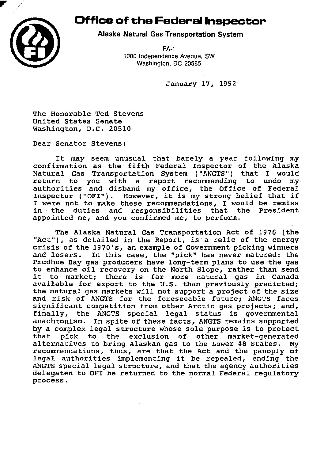 Description: [Letter to Ted Stevens from Michael J. Bayer ...