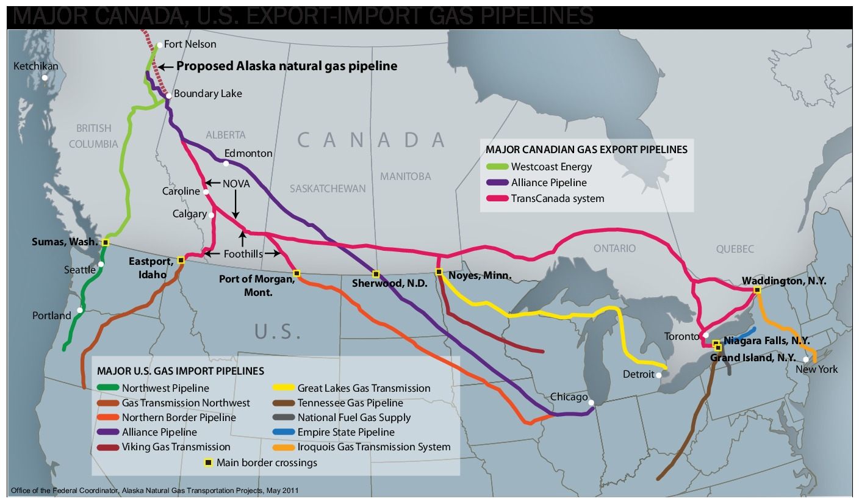 Description: Major Canada, U.S. export-import gas pipelines